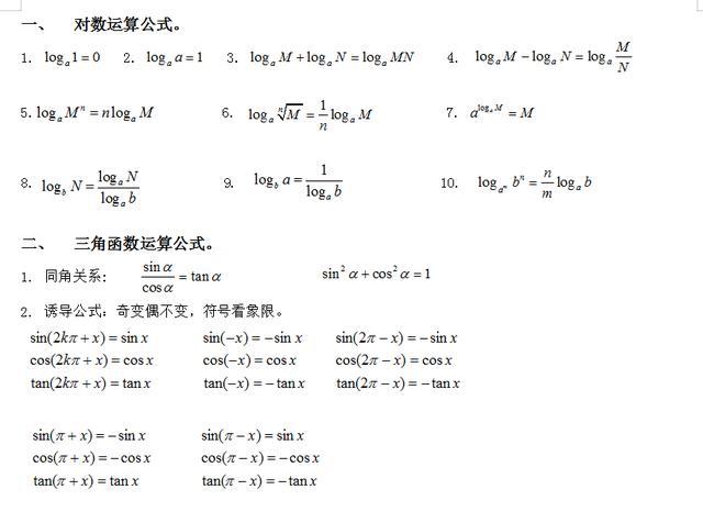 """高中数学:必修1~必修5""""数学公式""""大全,学霸提分、超车必备"""