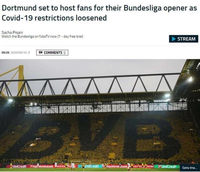 德甲首轮多特战门兴 将有近万球迷入场观战-第1张