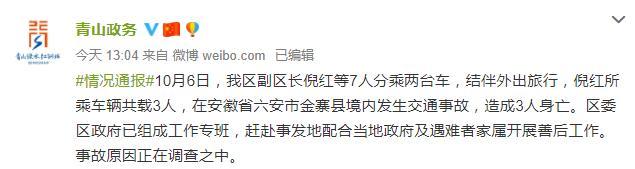 武汉青山区副区长倪红外出旅行因车祸身亡,事故原因正在调查【www.smxdc.net】