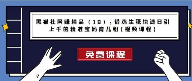 黑猫社网赚精品(18):借鸡生蛋快速日引上千的精准宝妈育儿粉【视频课程】