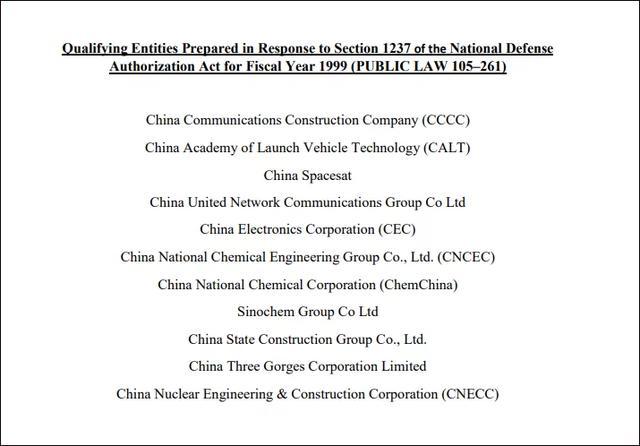 美方认定11家中企 美国防部更新清单