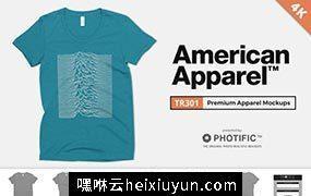 美式短袖T恤4K高清服饰贴图展示样机模版 American Apparel TR301 Shirt Mockups