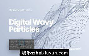 波浪粒子PS设计元素 Digital Wavy Particles Photoshop