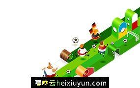 3D立体2.5D等轴等距世界杯欧洲杯足球插画bannervector illustrat