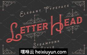 蒸汽朋克风格Letterhead font   ornament #296596