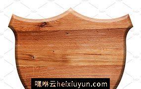木纹背景纹理素材 Wooden shield isolated #545328