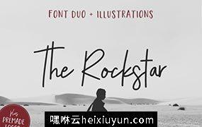 大气的手写英文字体 The Rockstar Font Duo #1737213