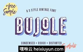 清新英文字体Bujole – A 3 Style Vintage Font #1025628