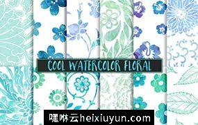 冷色水彩花卉背景纹理 Cool Watercolor Floral Backgrounds