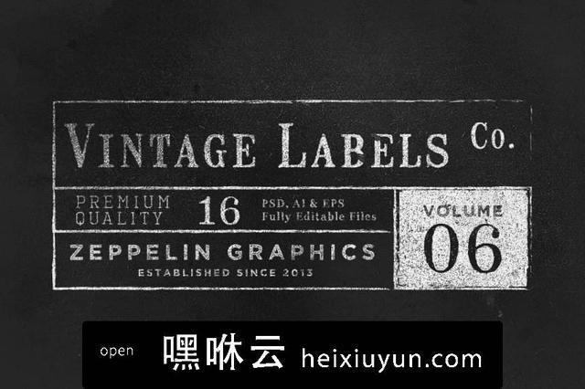嘿咻云-经典logo设计模板 Vintage Labels Logos  #84555
