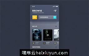 电影浏览列表IOS应用程序 Browse Movies iOS App 每日UI源文件分享 Daily UI #324