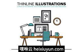 矢量商业网络科技扁平化图标Thinline Illustrations Collection