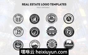 12组房地产商业徽章商标模版素材 Real Estate & Business Logos