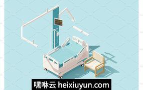 等量医院病床Vector isometric low poly hospital bed #2229529