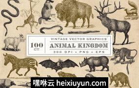 100副复古动物超清插图素材 Vintage Animal Vector Graphics #1375626