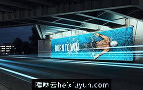城市桥底/隧道/地铁站/火车站/灯光广告牌样机模版 延时特效动画 Billboard Mock-up