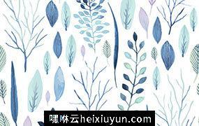 可爱素雅水彩无缝花卉树叶图案矢量高清背景设计素材Watercolor floral elements
