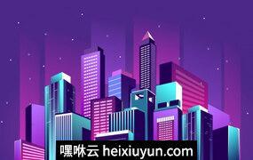 夜光霓虹城的矢量插图Vector illustration of a night glowing#796760662