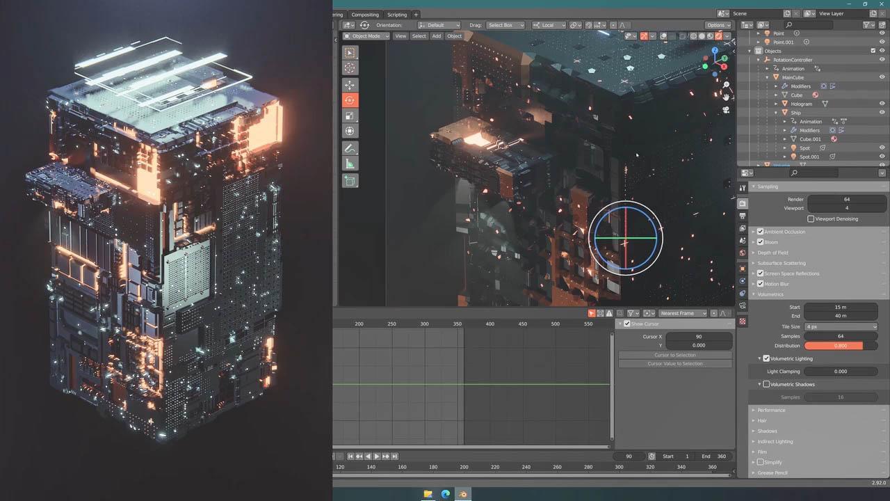 Blender科幻方块动画教程 Animate a 3D Futuristic Cuboid in Blender