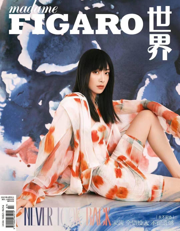 宋茜最新杂志封面大片 挑战水彩印花风春天气息满溢
